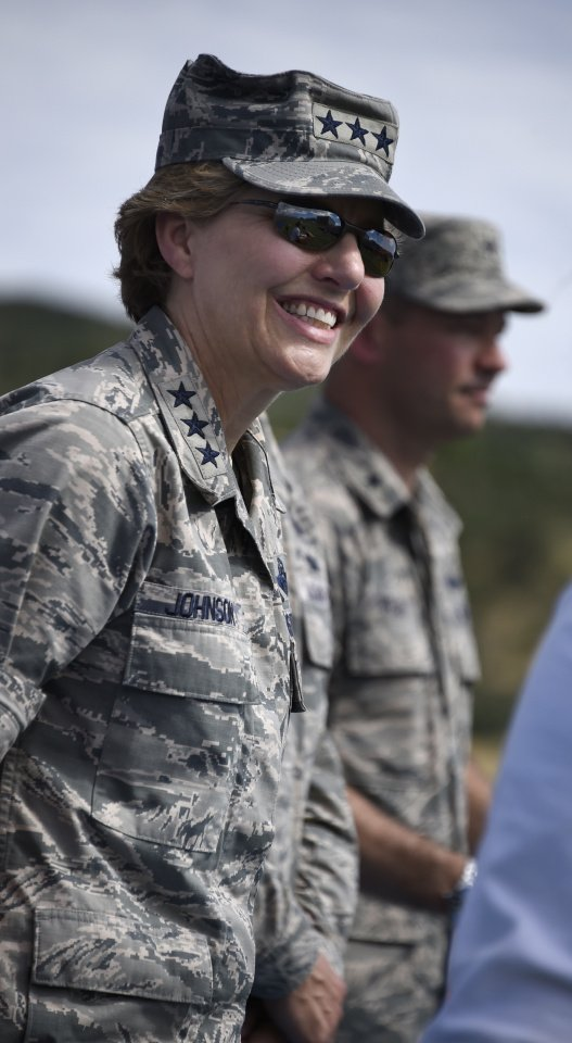 "Lt. Gen. Michelle Johnson, Superintendent of the Air Force Academy during ""Field Day"" activities Friday, July 11, 2014 at the Air Force Academy."