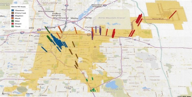 A map provided in the petition for the formation of a Denver Tourism Improvement District shows the location of 116 hotels with 50 or more rooms, the threshold that would trigger a proposed 1 percent tax on guests' stays.