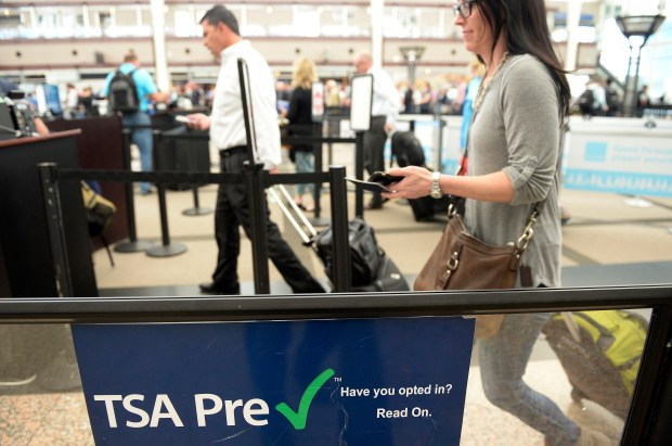 Passengers use the TSA Pre-Check line at Denver International Airport on May 20, 2016.
