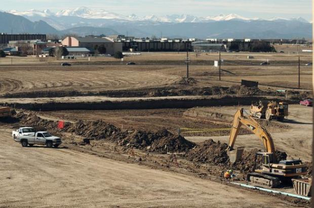 Construction crews prepare land east of the former StorageTek and Sun Microsystems campus in Louisville in 2008 after it was acquired by ConocoPhillips. The 432-acre site is under contract to California's Bancroft Capital, which hopes to woo Amazon's planned second headquarters.