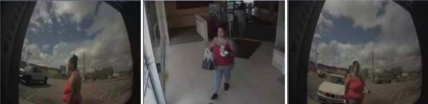 The robber is described as a Latina, about 35 years old, 5-foot-3 and 210 pounds.