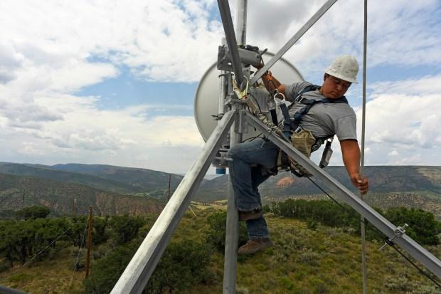 Jackson Federico, a tower technician for ...