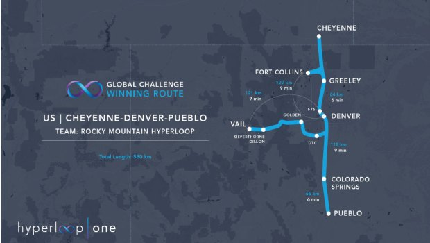 Team Rocky Mountain Hyperloop was named one of 10 finalists in the global Hyperloop One competition. The 360-mile route would connect Vail, Pueblo and Cheyenne to Denver.