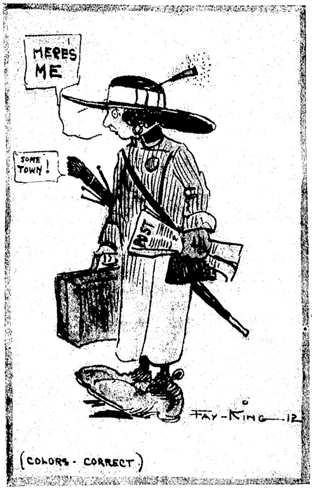 Fay King, The Post's new cartoonist, sketched herself upon her arrival in Denver. April 18, 1912.