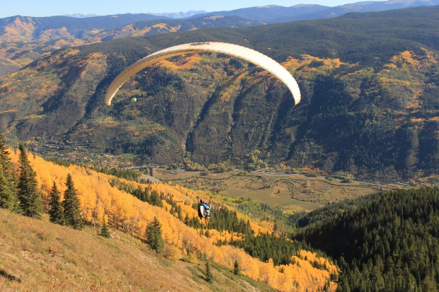 Aspen Paragliding flights start on Aspen Mountain and, in fall, soar into a sea of gold.