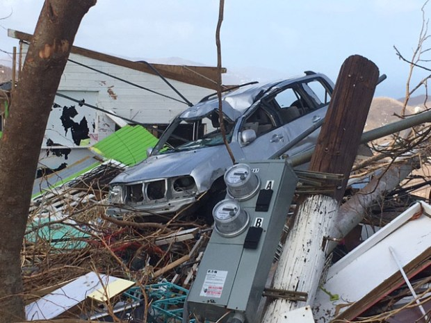 Hurricane Irma caused massive damage on St. John, part of the U.S. Virgin Islands. MUST CREDIT: Washington Post photo by Anthony Faiola