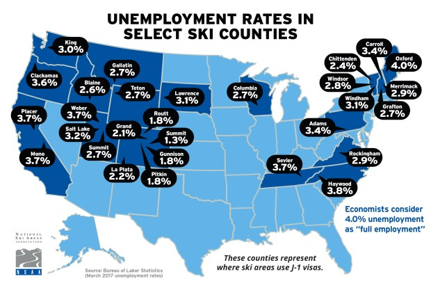 J-1 Visa Map of Ski Counties Unemployment