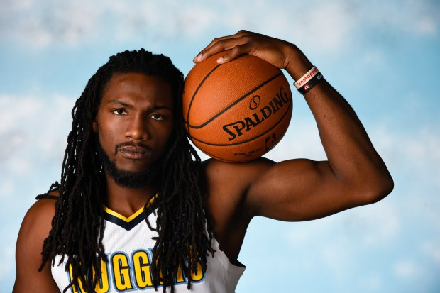 Denver Nuggets forward Kenneth Faried at media day at the Pepsi Center as they open their training camp in Denver on Monday, Sept. 25, 2017.