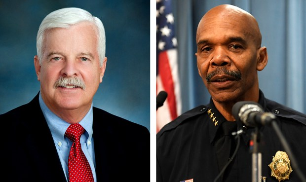 Denver City Auditor Timothy O'Brien, left, says Denver police have not implemented any of his recommendations to help patrol officers avoid racial bias despite their partial agreement to do so. The Denver Police Department, which is led by Chief Robert White, right, say that's not true.