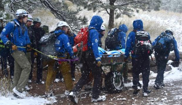 Members of Rocky Mountain Rescue carry down the body of Erik Kleiber after he fell to his death while climbing the First Flatiron on Thursday.