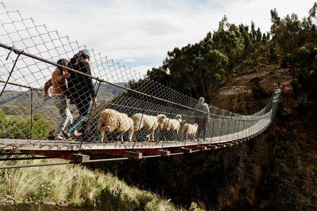 A 2012 project by Bridges to Prosperity built this footbridge in Chaqui Cocha, Bolivia