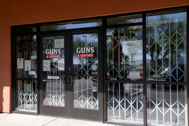 """Las Vegas gunman Stephen Paddock allegedly purchased firearms at this gun shop in Mesquite, Nev. The store's general manager said that """"All necessary background checks and procedures were followed, as required by local, state, and federal law. He never gave any indication or reason to believe he was unstable or unfit at any time."""""""