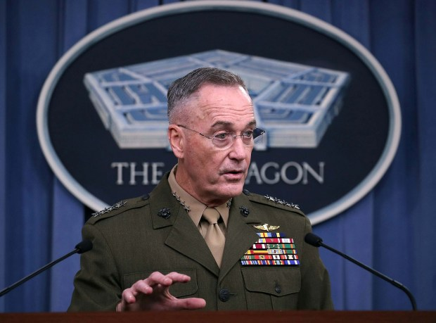 Gen. Joseph Dunford Jr., chairman of the Joint Chiefs of Staff, briefs the media on the recent military operations in Niger at the Pentagon on Monday.
