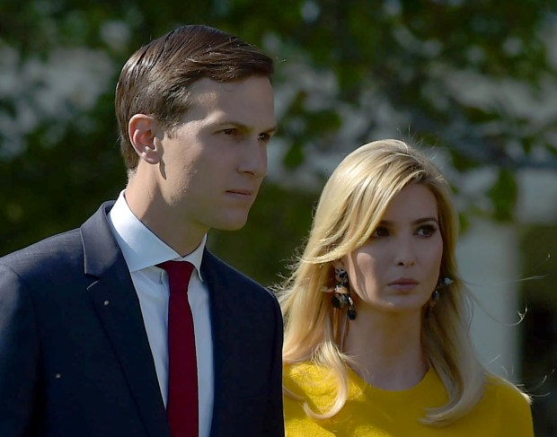 Jared Kushner and Ivanka Trump arrive before President Donald Trump and First Lady Melania Trump take part in a moment of silence for the victims of the Las Vegas shootings Monday at the White House.