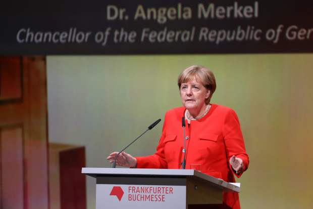 German Chancellor Angela Merkel speaks at the opening of the Frankfurt Book Fair on Tuesday in Frankfurt.