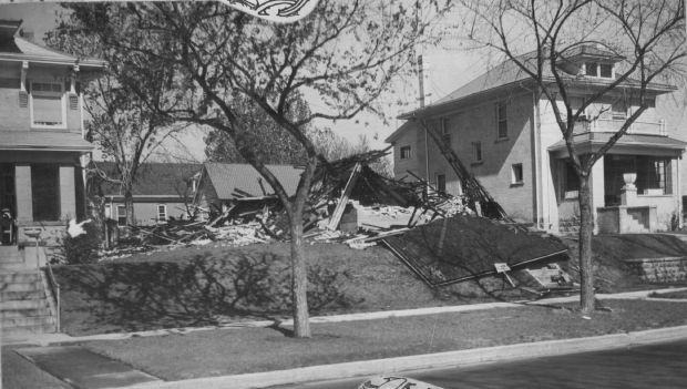 A Gangland Bomb Plot leveled the north Denver home of bootlegger Pete Carlino some months before the gang leader was shot to death. The historic photo from shows the ruins.
