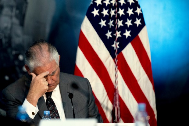 Secretary of State Rex Tillerson attends the National Space Council's first meeting at the Steven F. Udvar-Hazy Center in Chantily, Va., on Thursday.