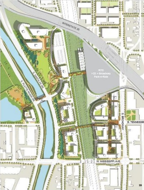 A development map shows Broadway Station Partners' plans for potential new buildings on the old Gates Rubber Co. site. Development would occur largely between Santa Fe Drive, Broadway, Interstate 25 and Mississippi Avenue.