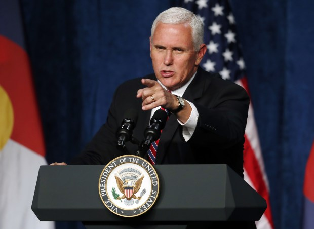 Vice President Mike Pence speaks during a fundraising event for the Republican Party on Thursday in Greenwood Village.