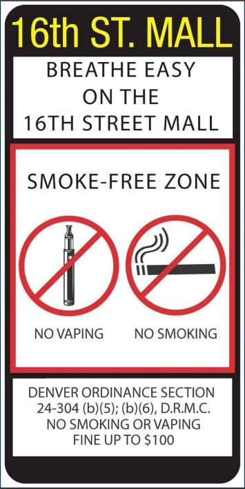 An image shows a sign that was proposed to be posted on Denver's 16th Street Mall during the City Council's discussion of a smoking and vaping ban for the area. The signs was part of a slideshow delivered to a council committee on Oct. 11, 2017.