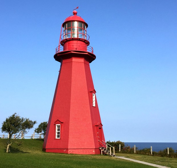 The old La Martre Lighthouse, now fully automated, is one of the best examples of the many scattered along the coast of the Gaspe Peninsula in Quebec.