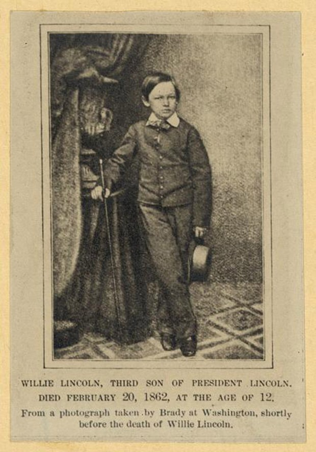 "William Wallace ""Willie"" Lincoln, photographed shortly before his death in Washington, D.C., on Feb. 20, 1862. The caption for the photo, taken by Mathew Brady, is incorrect; the boy was born Dec. 21, 1850, making him 11 at his death. (MUST CREDIT: Library of Congress)"