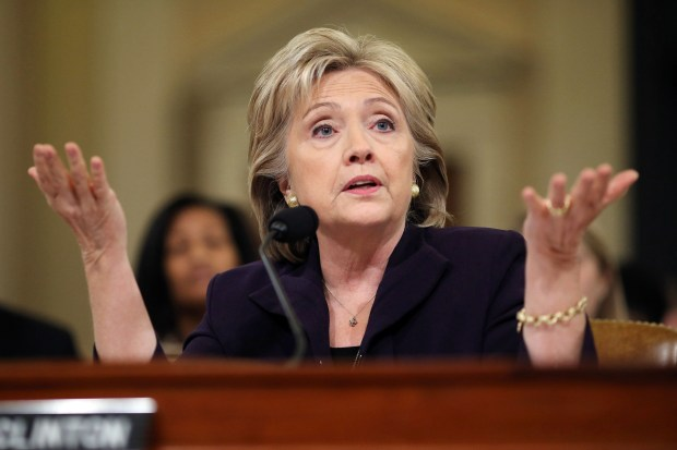 Former Secretary of State Hillary Clinton testifies before the House Select Committee on Benghazi on Oct. 22, 2015, in Washington.