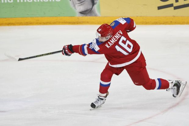 Vladislav Kamenev of Russia scores the ...