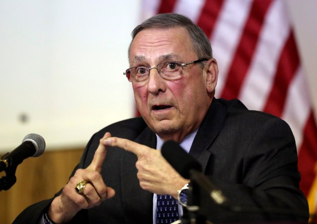 Maine Gov. Paul LePage speaks at a town hall meeting in Yarmouth, Maine, on March. 8.