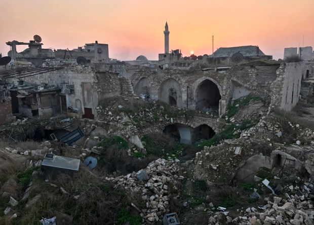 This Jan. 19 file photo shows a general view of the destruction in the old city of Aleppo, Syria.