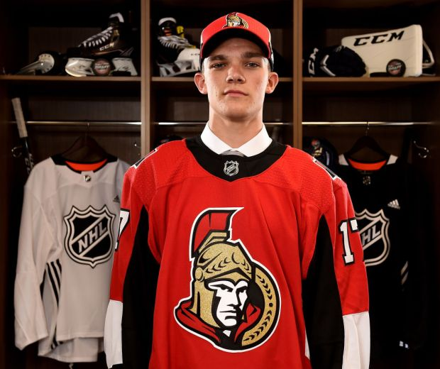 CHICAGO, IL - JUNE 23: Shane Bowers poses for a portrait after being selected 28th overall by the Ottawa Senators during the 2017 NHL Draft at the United Center on June 23, 2017 in Chicago, Illinois. (Photo by Stacy Revere/Getty Images)