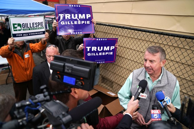 Republican candidate for Virginia governor Ed Gillespie talks to journalists after casting his vote Tuesday in Alexandria, Va. Gillespie was defeated by Democrat Ralph Northam.