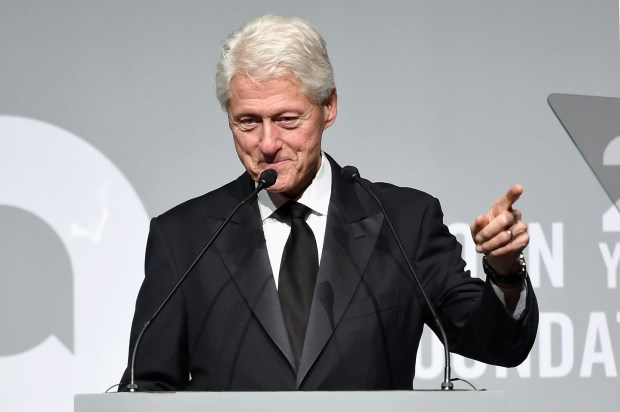 Former President Bill Clinton speaks Tuesday at a gala for the Elton John AIDS Foundation in New York.