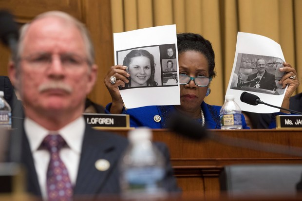 U.S. Rep. Sheila Jackson-Lee, D-Texas, speaks on the Roy Moore sexual misconduct accusations during a hearing before the House Judiciary Committee on Nov. 14 in Washington.