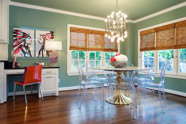 A dining room designed Abbe Fenimore. It's become common for dining spaces to have multiple uses, as shown in this photo of a dining room designed by Fenimore, founder of the Dallas-based design firm Studio Ten 25, which includes space for a home office.