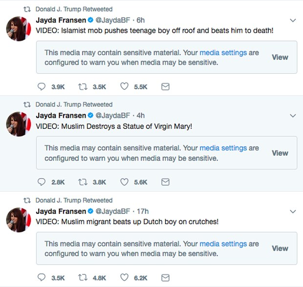 This screenshot from President Donald Trump's Twitter account shows three retweets that he posted early Wednesday morning, Nov. 29, 2017, from the account of Jayda Fransen, the deputy leader of the British far-right fringe group Britain First. The origins of the videos in the tweets could not immediately be determined. They purport to show violence being committed by Muslims.