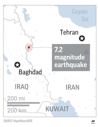 Map locates Epicenter of quake.; 1c x 3 inches; 46.5 mm x 76 mm;