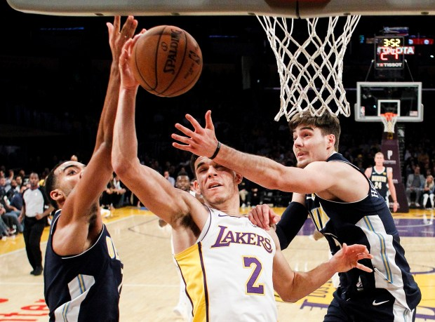 Los Angeles Lakers guard Lonzo Ball, ...