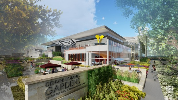 A rendering by Davis Partnership Architects shows the Denver Botanic Gardens' planned Center for Science, Art and Education, as it would look from 11th Avenue and York Street. The project is set to receive $18 million from Denver's bond package to supplement private fundraising.