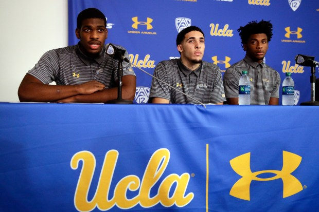 UCLA basketball player Cody Riley, LiAngelo Ball and Jalen Hill appear during a news conference in Los Angeles on Nov. 15. President Donald Trump asked Chinese President Xi Jingping to release the three from jail after they were arrested for shoplifting in Hangzhou.