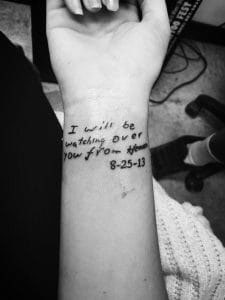 Bailey Sellers had one of her father's notes to her tattooed on her wrist. Michael Sellers died of pancreatic cancer in 2013.