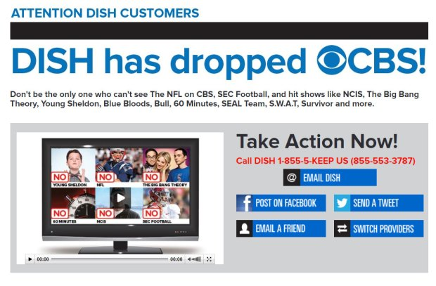 CBS takes it battle for a new contract with Dish Network public at its KeepCBSOnDish.com site. CBS went dark for Dish customers in Denver and 27 other cities on Nov. 21, 2017.