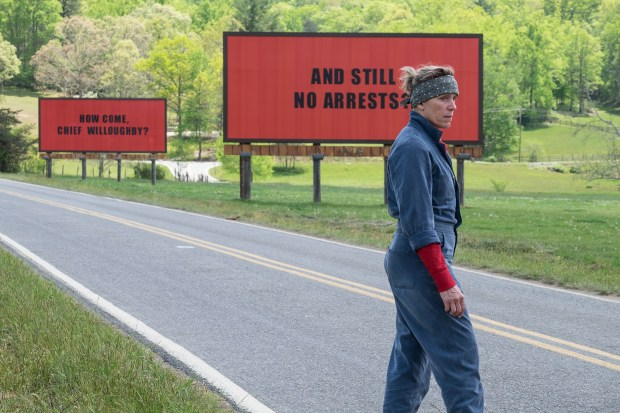 "Frances McDormand plays an angry, grieving mother in ""Three Billboards Outside Ebbing, Missouri."""