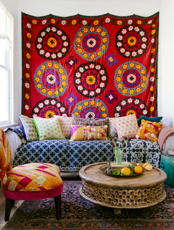 Designer Justina Blakeney draws inspiration for her fabrics (such as those shown here) from both her global travels and her own neighborhood.