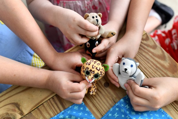 Colette Briggs, 4, center, has a tea party with stuffed animals and her youngest sisters, Sophia, 7, left, and Genevieve, 9.