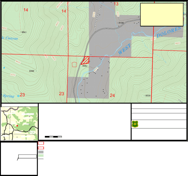 A map of the proposed location for the Dolores County firehouse.