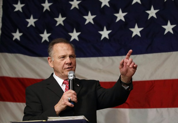 Republican Senate candidate Roy Moore speaks during a campaign event Tuesday in Fairhope, Ala. Nine women have accused Moore of making unwanted sexual advances, including some who were underage at the time. He has denied all of the allegations.
