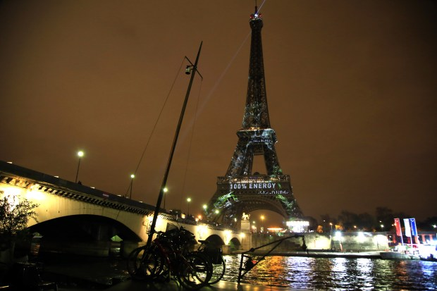 A message is displayed on the Eiffel Tower before the 2015 Paris Climate Conference on Nov. 29, 2015.