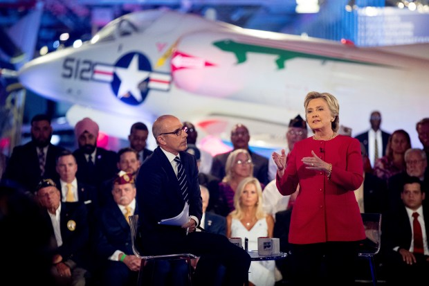 "Democratic presidential candidate Hillary Clinton, with ""Today"" show co-anchor Matt Lauer, speaks at the NBC Commander-In-Chief Forum held at the Intrepid Sea, Air and Space museum aboard the decommissioned aircraft carrier Intrepid on Sept. 7, 2016."