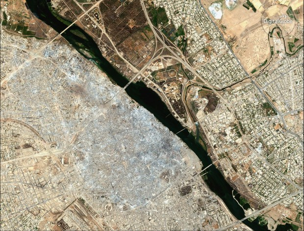 This satellite image released by DigitalGlobe ...